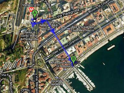 Mappa di Mergellina: Stazione - Porto